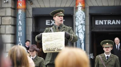 Thousands gathered for commemorations in Dublin during 100th anniversary of Ireland's Easter Rising against Britain, which  inspired the country's eventual independence [Peter Morrison/AP]
