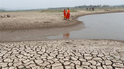 The Mae Chang reservoir in Lampang province, northern Thailand, has almost dried up [EPA/Rungroj Yongrit]