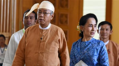 Htin Kyaw, left, takes over from former general Thein Sein, who has led the country since 2011 [Reuters]