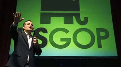 Republican Ted Cruz speaks at a caucus site on Saturday in Wichita, Kansas [Charles Rex Arbogast/AP]