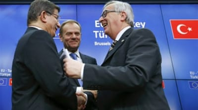 Turkish Prime Minister Ahmet Davutoglu agreed to tackle the refugee crisis with EU leaders [EPA]