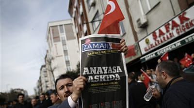 Head of the Journalists' Union of Turkey condemned the seizure of the newspaper unreservedly [AP]