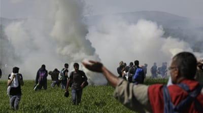 Macedonian police confirmed the incident but said the tear gas had not come from their side [Amel Emric/The Associated Press]