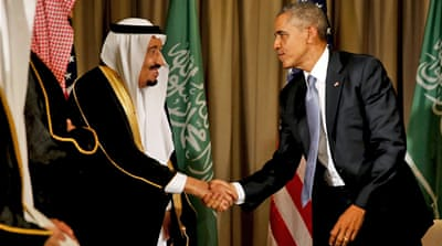 Barack Obama shakes hands with Saudi King Salman after their meeting in Turkey in November [Jonathan Ernst/Reuters]