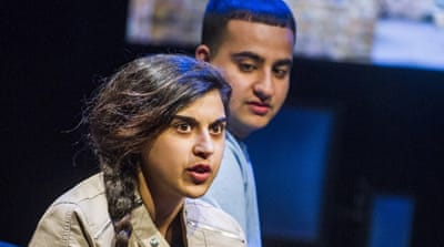 Zara Azam, left, and Farshid Rokey in Another World: Losing Our Children to Islamic State [Tristram Kenton/Courtesy of the London National Theatre]
