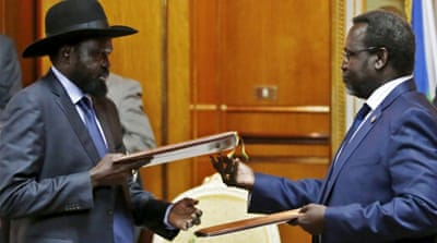 Machar had been given a deadline by Kiir, left, to return to Juba [Reuters]