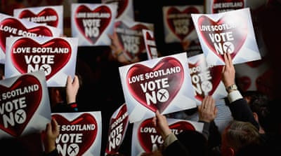 "When Scottish Labour campaigned for a ""No"" vote in Scotland's independence referendum in 2014, it alienated many of its formerly loyal, working-class supporters [Jeff J Mitchell/Getty Images]"