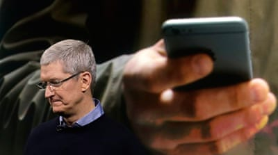 "Apple chief executive Tim Cook maintained that ""the future of Apple is very bright"" [Marcio Jose Sanchez/AP]"