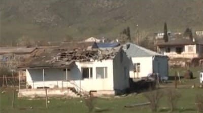 A house which was damaged during clashes between Armenian and Azeri forces is seen in Nagorno-Karabakh region. [Reuters]