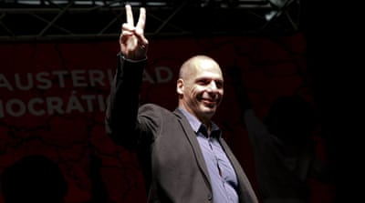 Greece's former Finance Minister Yanis Varoufakis introduced his DiEM25, Democracy in Europe Movement, in Berlin on February 9 [Fabrizio Bensch/Reuters]