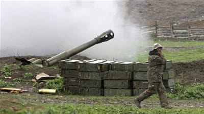 In this image made from a video released on April 3, a Grad missile is fired by Azerbaijani forces in the village of Gapanli, Azerbaijan [AP]