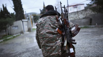 At least 46 people were killed in three days of fighting over the disputed Nagorno-Karabakh [AP]