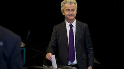 Right-wing MP Geert Wilders casts his vote in the referendum in The Hague [Peter de Jong/AP]