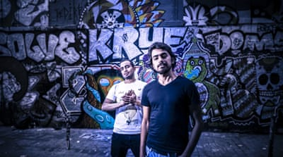 Syrian brothers, Refugees of Rap, have toured Europe since fleeing to France in 2013 [Arthur J. Cammelbeeck/Al Jazeera]