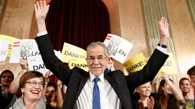 Hofer, right, of the Freedom Party, conceded defeat to Van der Bellen, left, on a Facebook post on Monday [Reuters]