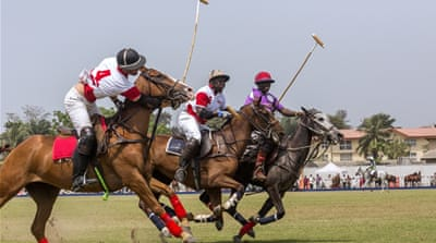 Rotimi Makanjuola prepares for a match at the Lagos International Polo Tournament [Andrew Esiebo/Al Jazeera]