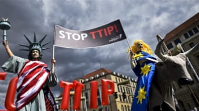 Protesters rallying against TTIP in Hanover on the eve of President Obama's visit to Germany [Getty Images]