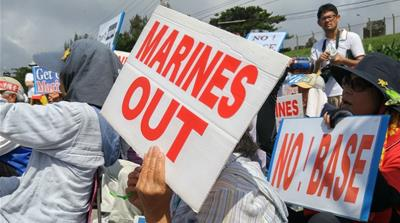Protesters have been calling for the withdrawal of US troops from Okinawa [File pic: EPA]