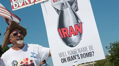 A Stop The Iran Nuclear Deal protest in front of the US Capitol in Washington, DC, in September 2015 [Getty]