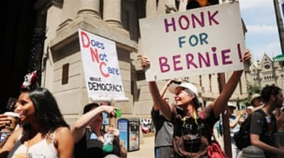 Bernie Sanders supporters gathered for a march before the start of the Democratic National Convention [Spencer Platt/AFP]