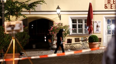 The blast went off at a bar outside a music festival in Ansbach, Germany [Reuters]