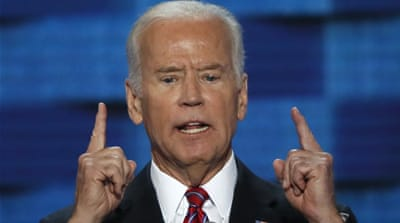 U.S. Vice President Joe Biden speaks on the third night at the Democratic National Convention in Philadelphia, Pennsylvania, U.S. July 27, 2016. [Mike Segar/Reuters] [Reuters]