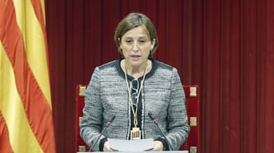 Catalan Parliament Speaker Carme Forcadell hit back at Madrid's reaction [Andreu Dalmau/EPA]