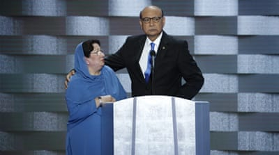 Khizr Khan, right, and his wife, Ghazala, at the Democratic National Convention in Philadelphia on July 28, 2016. [Shawn Thew/EPA]
