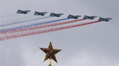 Russian Air Force Su-25 jets fly over Moscow's Kremlin during a general rehearsal for the Victory Day military parade [Ivan Sekretarev/AP]