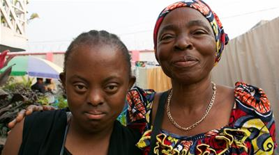 Solange Mampia, right, has struggled to raise her daughter Elvine Misiombo in Kinshasa [Al Jazeera]