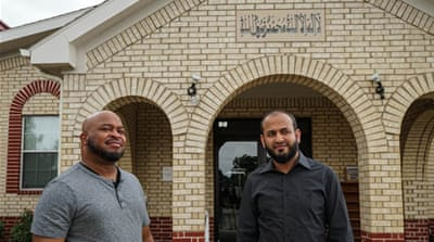 Vincent Simon, left, and Mujeeb Kazi say a recent threat against their mosque has put local Muslims on high alert [Patrick Strickland]