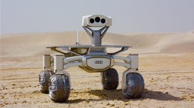 The Audio Lunar Quattro rover is tested in Qatar's desert. Photo: Kate Arkless Gray