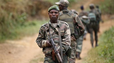 File photo: Democratic Republic of Congo military personnel patrol against the Allied Democratic Forces near Beni. [Kenny Katombe/Reuters]