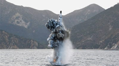 File:  An underwater test-firing of a North Korean strategic submarine ballistic missile [Reuters]