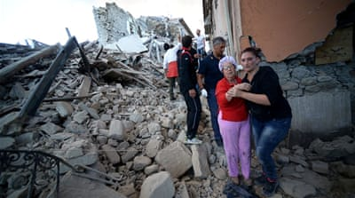 The quake destroyed buildings, forcing residents from their homes [Filippo Monteforte/AFP]