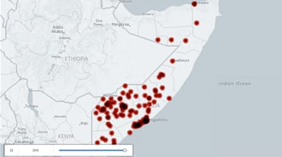Al-Shabab attacks in Somalia (2006-2016)