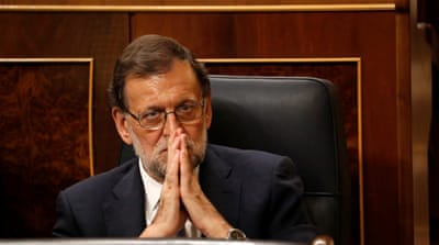 Rajoy secured 170 votes, six short of the majority needed to form a government [Reuters]