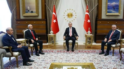 A week after the failed coup attempt, a rare meeting between Turkish President Recep Tayyip Erdogan and two opposition leaders took place at the presidential palace in Ankara [EPA]