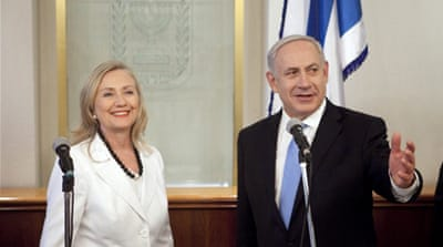 Israeli Prime Minister Benjamin Netanyahu meets US Secretary of State Hillary Clinton on July 16, 2012 in Jerusalem [Getty]