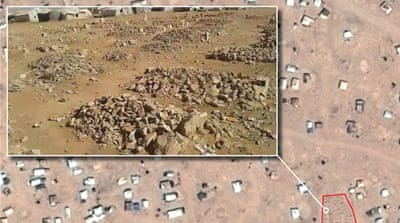 A graveyard site at Syrian-Jordan border [Screenshot from Tribal Council of Palmyra video/Amnesty International]