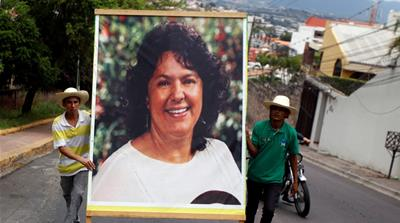 Caceres was shot dead in her home on March 2, 2016 after years of threats [Jorge Cabrera/Reuters]