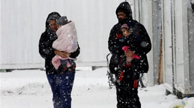 Conditions in Greek refugee camps have worsened with winter weather [Yannis Behrakis/Reuters]