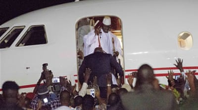 Jammeh flew out the Gambia on Saturday and headed to Equatorial Guinea [Afolabi Sotunde/Reuters]