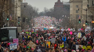 Hundreds of thousands of marchers filled the streets of Washington, DC [Bryan Woolston/Reuters]