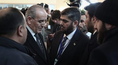 "Jaafari referred to the rebel delegation as ""terrorists"" [Dylan Collins/Al Jazeera]"