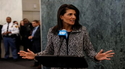 US Ambassador to the United Nations Nikki Haley criticised the Palestinian-led BDS movement [Mike Segar/Reuters]