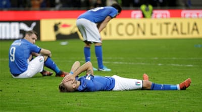 Italy fails to reach World Cup after draw with Sweden