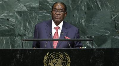 Robert Mugabe addresses the 72nd United Nations General Assembly at UN headquarters in New York on September 21, 2017 [Reuters/Eduardo Munoz]