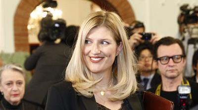 Beatrice Fihn of the International Campaign to Abolish Nuclear Weapons (ICAN) at the award ceremony [Audun Braastad/EPA]