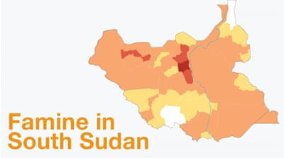 South Sudan areas affected by famine